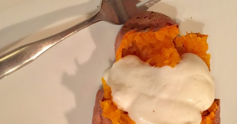 baked sweet potatoes with roasted garlic yogurt